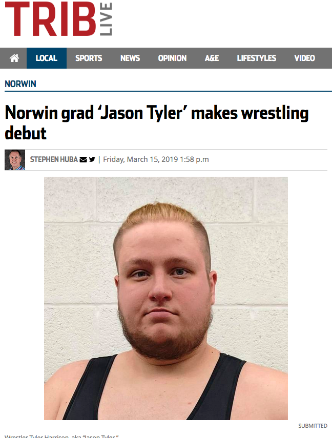 Norwin grad 'Jason Tyler' makes wrestling debut
