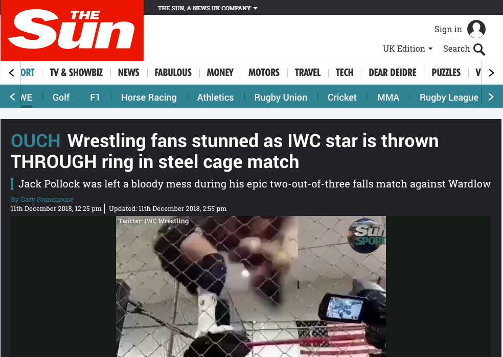 Jack Pollock's fall through IWC Ring Gets International Attention!