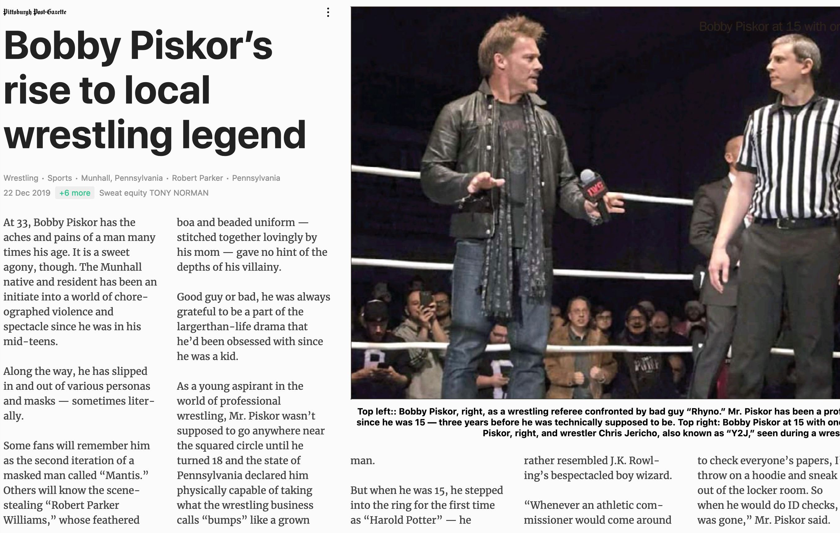 Referee/Wrestler Bobby Piskor featured in Pittsburgh Post-Gazette
